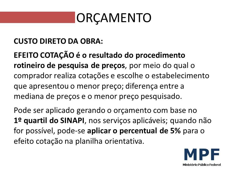 CUSTO DIRETO DA OBRA: EFEITO COTAÇÃO é o resultado do procedimento rotineiro de pesquisa de preços, por meio do qual o comprador realiza cotações e es