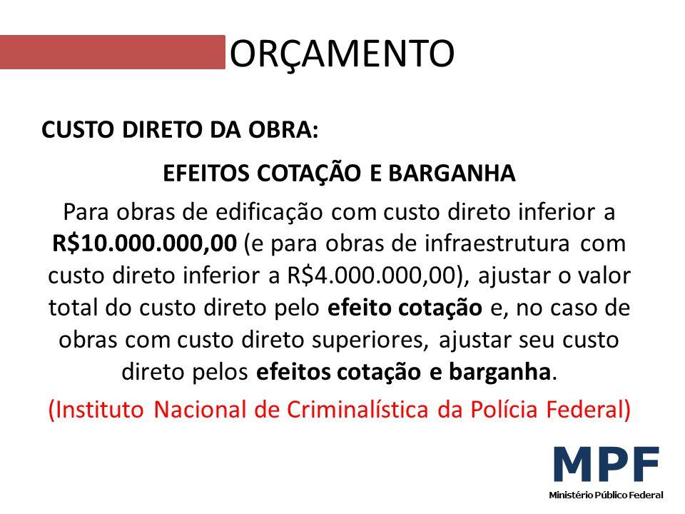 CUSTO DIRETO DA OBRA: EFEITOS COTAÇÃO E BARGANHA Para obras de edificação com custo direto inferior a R$10.000.000,00 (e para obras de infraestrutura