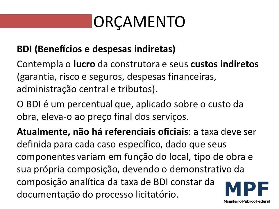 BDI (Benefícios e despesas indiretas) Contempla o lucro da construtora e seus custos indiretos (garantia, risco e seguros, despesas financeiras, admin