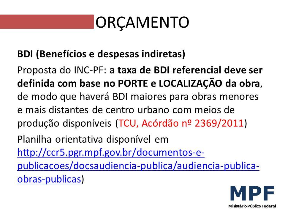 BDI (Benefícios e despesas indiretas) Proposta do INC-PF: a taxa de BDI referencial deve ser definida com base no PORTE e LOCALIZAÇÃO da obra, de modo