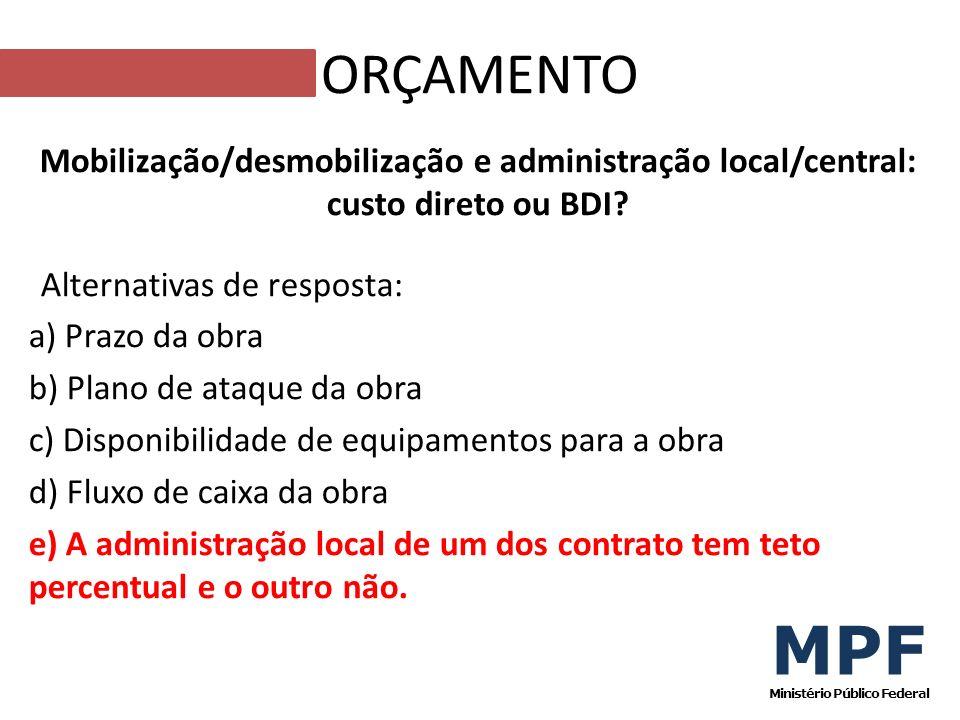 Mobilização/desmobilização e administração local/central: custo direto ou BDI? Alternativas de resposta: a) Prazo da obra b) Plano de ataque da obra c