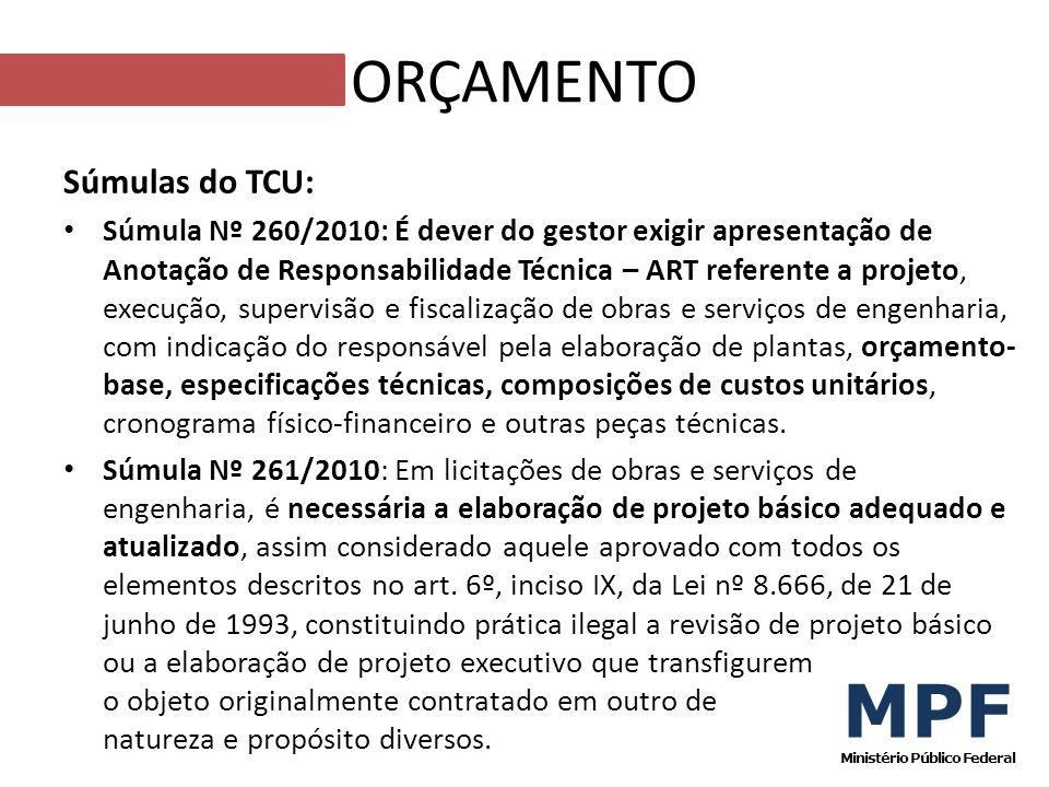 Súmulas do TCU: Súmula Nº 260/2010: É dever do gestor exigir apresentação de Anotação de Responsabilidade Técnica – ART referente a projeto, execução,