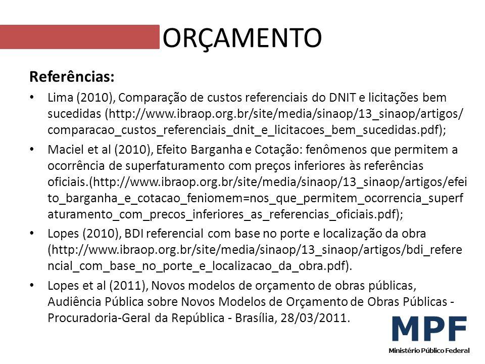 Referências: Lima (2010), Comparação de custos referenciais do DNIT e licitações bem sucedidas (http://www.ibraop.org.br/site/media/sinaop/13_sinaop/a