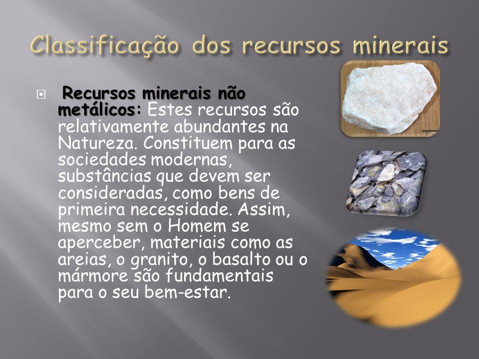 Recursos minerais não metálicos Recursos minerais não metálicos: Estes recursos são relativamente abundantes na Natureza. Constituem para as sociedade