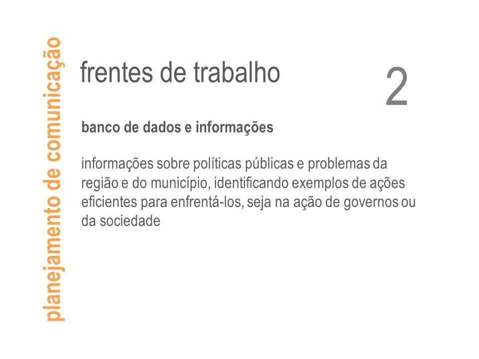 planejamento de comunicação frentes de trabalho banco de dados e informações informações sobre políticas públicas e problemas da região e do município