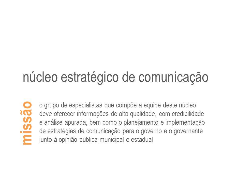missão núcleo estratégico de comunicação o grupo de especialistas que compõe a equipe deste núcleo deve oferecer informações de alta qualidade, com cr