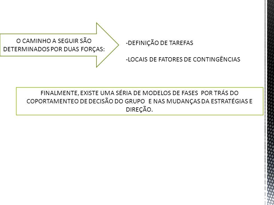O CAMINHO A SEGUIR SÃO DETERMINADOS POR DUAS FORÇAS: -DEFINIÇÃO DE TAREFAS -LOCAIS DE FATORES DE CONTINGÊNCIAS FINALMENTE, EXISTE UMA SÉRIA DE MODELOS