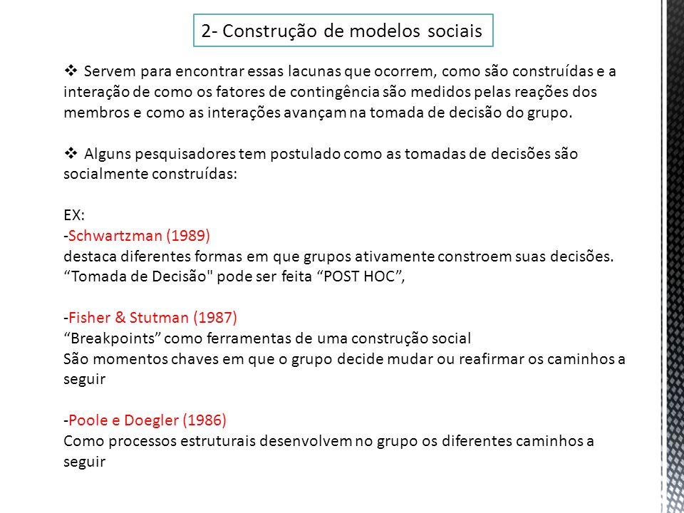 2- Construção de modelos sociais Servem para encontrar essas lacunas que ocorrem, como são construídas e a interação de como os fatores de contingênci