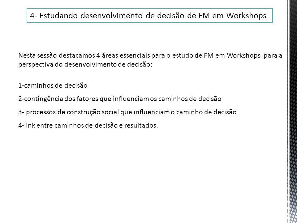 4- Estudando desenvolvimento de decisão de FM em Workshops Nesta sessão destacamos 4 áreas essenciais para o estudo de FM em Workshops para a perspect
