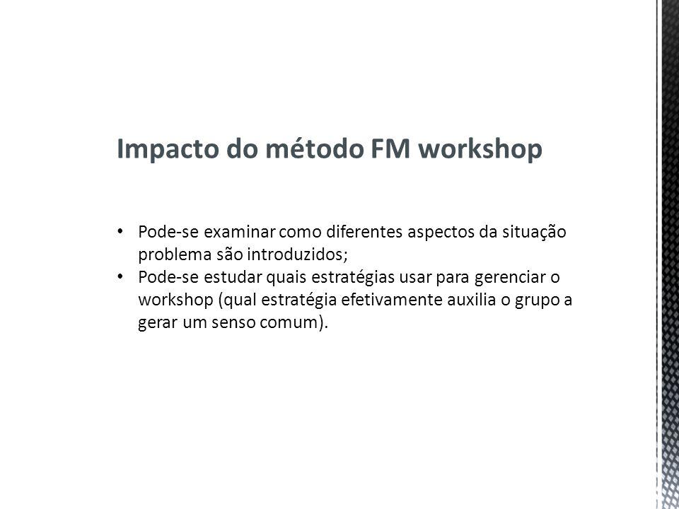Impacto do método FM workshop Pode-se examinar como diferentes aspectos da situação problema são introduzidos; Pode-se estudar quais estratégias usar