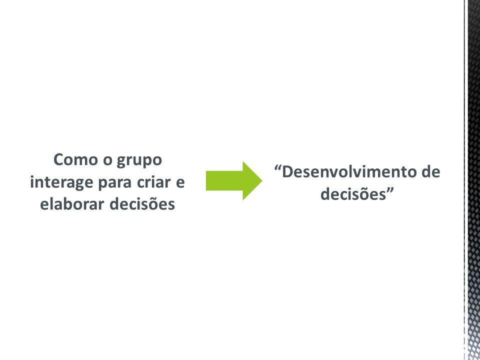 4.1 Estudando caminhos de decisões Como discutido no modelo de fase : a comunicação do grupo sugere os caminhos das decisões: -sozinhos, -múltiplos ou -complexas sequências.