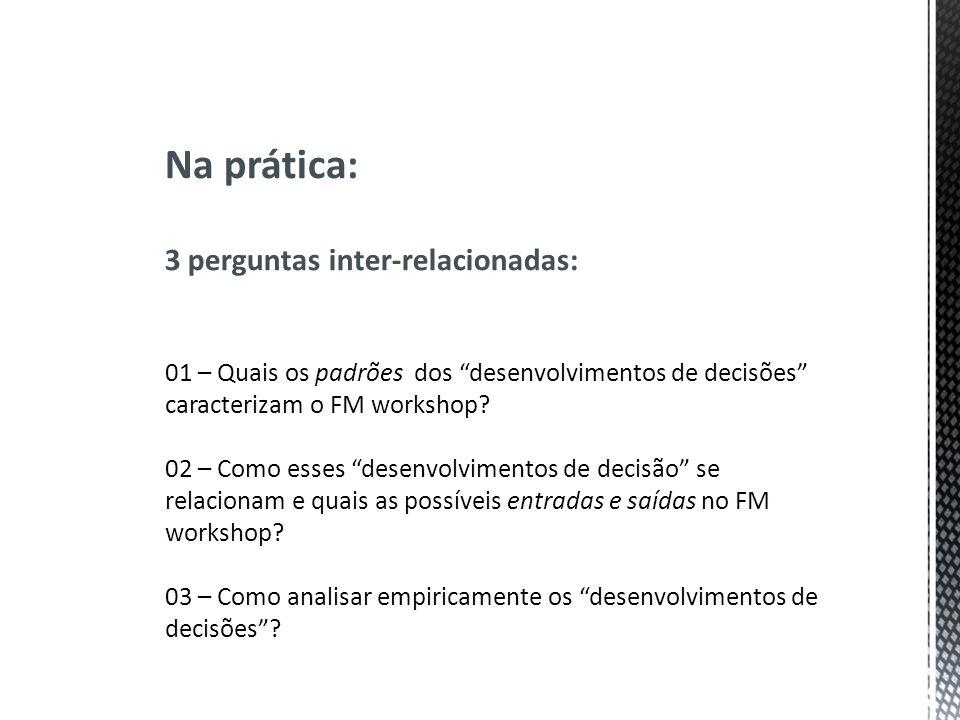 Na prática: 3 perguntas inter-relacionadas: 01 – Quais os padrões dos desenvolvimentos de decisões caracterizam o FM workshop? 02 – Como esses desenvo