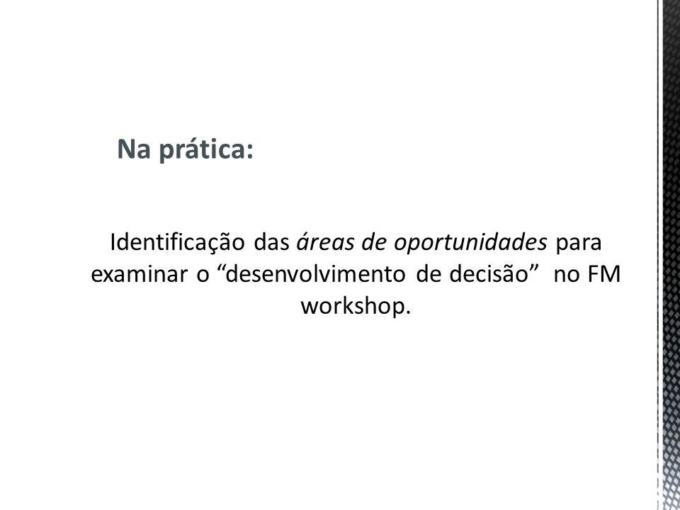 Identificação das áreas de oportunidades para examinar o desenvolvimento de decisão no FM workshop. Na prática: