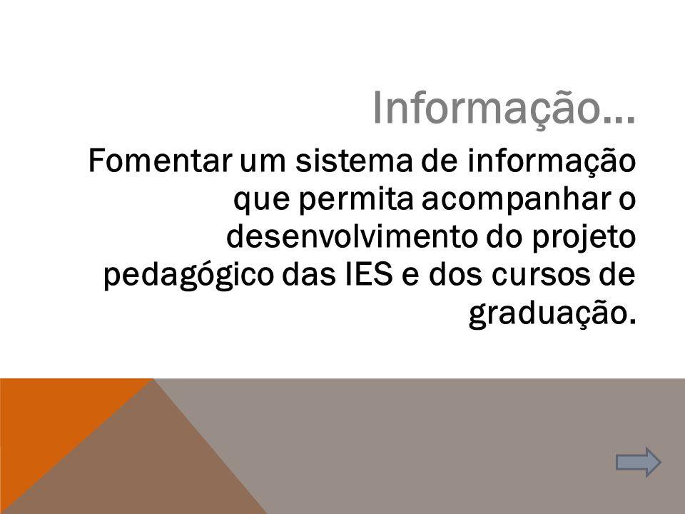 Informação... Fomentar um sistema de informação que permita acompanhar o desenvolvimento do projeto pedagógico das IES e dos cursos de graduação.