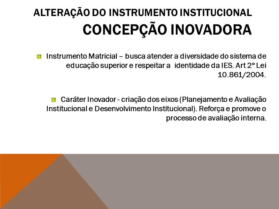 ALTERAÇÃO DO INSTRUMENTO INSTITUCIONAL CONCEPÇÃO INOVADORA Instrumento Matricial – busca atender a diversidade do sistema de educação superior e respe