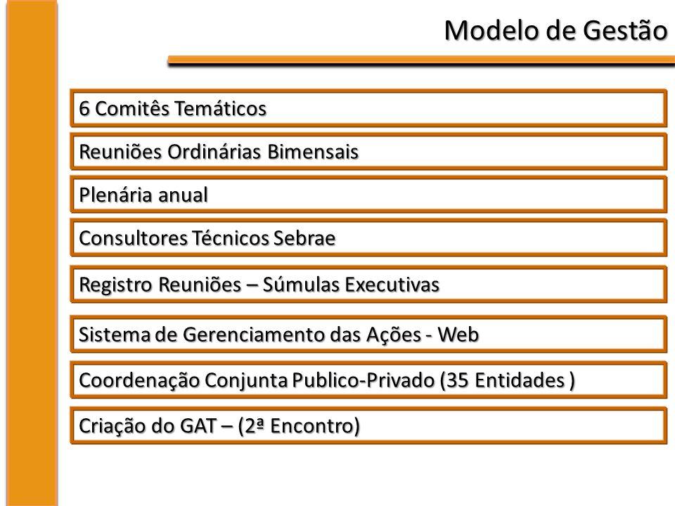 Modelo de Gestão 6 Comitês Temáticos Reuniões Ordinárias Bimensais Plenária anual Consultores Técnicos Sebrae Registro Reuniões – Súmulas Executivas Sistema de Gerenciamento das Ações - Web Coordenação Conjunta Publico-Privado (35 Entidades ) Criação do GAT – (2ª Encontro)