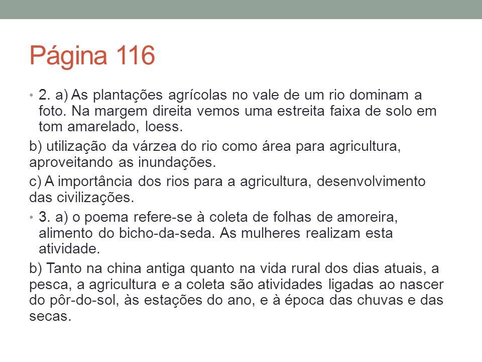 Página 116 2.a) As plantações agrícolas no vale de um rio dominam a foto.