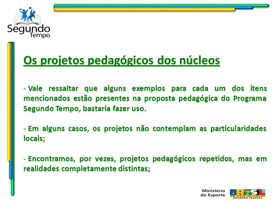 Os projetos pedagógicos dos núcleos - Vale ressaltar que alguns exemplos para cada um dos itens mencionados estão presentes na proposta pedagógica do