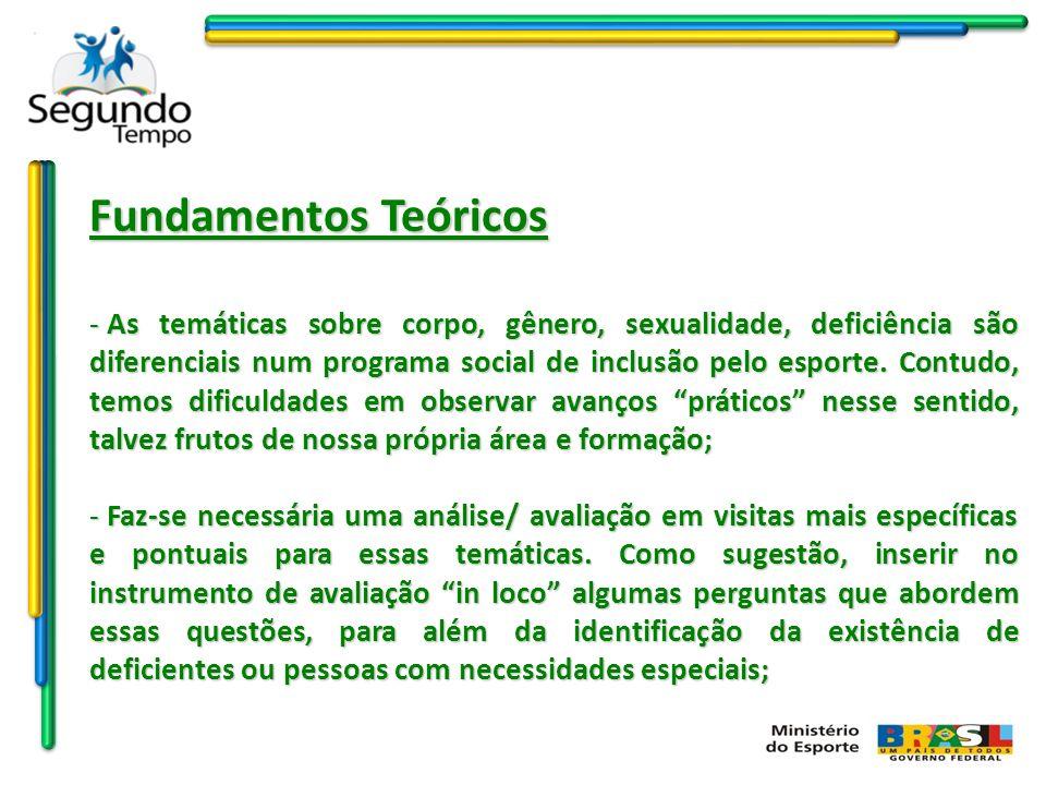 Fundamentos Teóricos - As temáticas sobre corpo, gênero, sexualidade, deficiência são diferenciais num programa social de inclusão pelo esporte. Contu