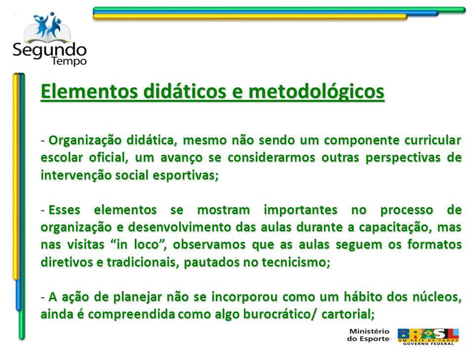 Elementos didáticos e metodológicos - Organização didática, mesmo não sendo um componente curricular escolar oficial, um avanço se considerarmos outra
