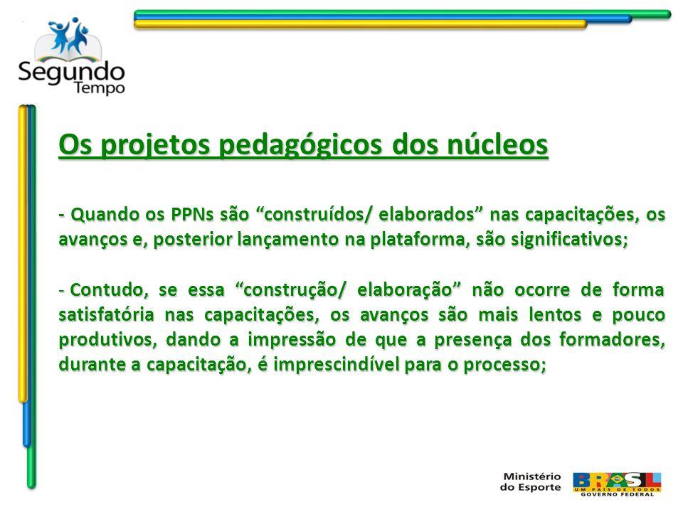 Os projetos pedagógicos dos núcleos -Assim, a distância física dos coordenadores de núcleo dos formadores dificulta o avanço na construção/ elaboração dos PPNs, mesmo com o avanço do sistema.