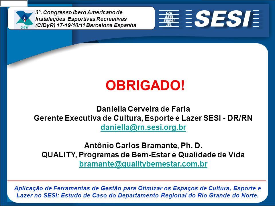 OBRIGADO! Daniella Cerveira de Faria Gerente Executiva de Cultura, Esporte e Lazer SESI - DR/RN daniella@rn.sesi.org.br Antônio Carlos Bramante, Ph. D