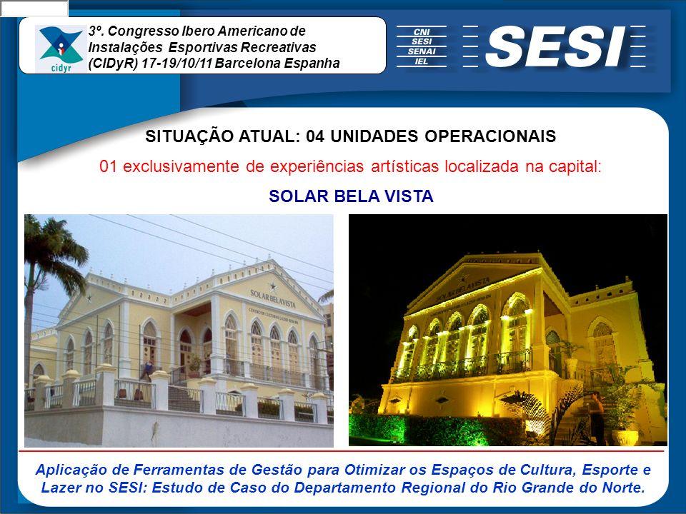 SITUAÇÃO ATUAL: 04 UNIDADES OPERACIONAIS 01 exclusivamente de experiências artísticas localizada na capital: SOLAR BELA VISTA 3º. Congresso Ibero Amer
