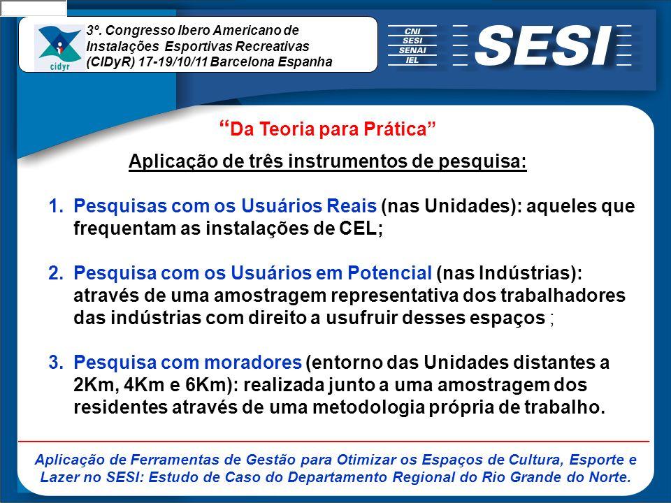 1.Pesquisas com os Usuários Reais (nas Unidades) Aqueles que frequentam as instalações de CEL.