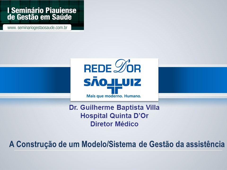 A Construção de um Modelo/Sistema de Gestão da assistência Dr. Guilherme Baptista Villa Hospital Quinta DOr Diretor Médico