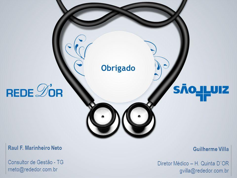 Obrigado Raul F. Marinheiro Neto Consultor de Gestão - TG rneto@rededor.com.br Guilherme Villa Diretor Médico – H. Quinta D´OR gvilla@rededor.com.br