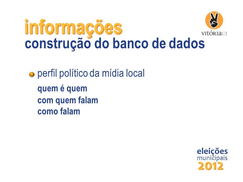 informações perfil político da mídia local quem é quem com quem falam como falam eleições municipais 2012 construção do banco de dados