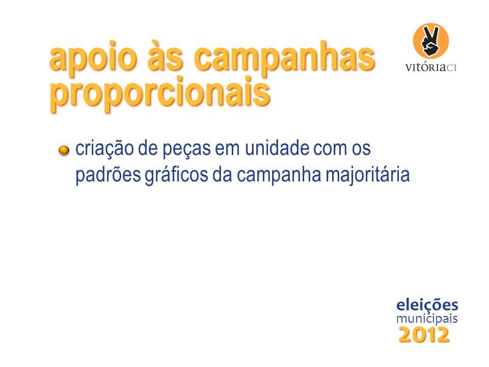 criação de peças em unidade com os padrões gráficos da campanha majoritária eleições municipais 2012 apoio às campanhas proporcionais