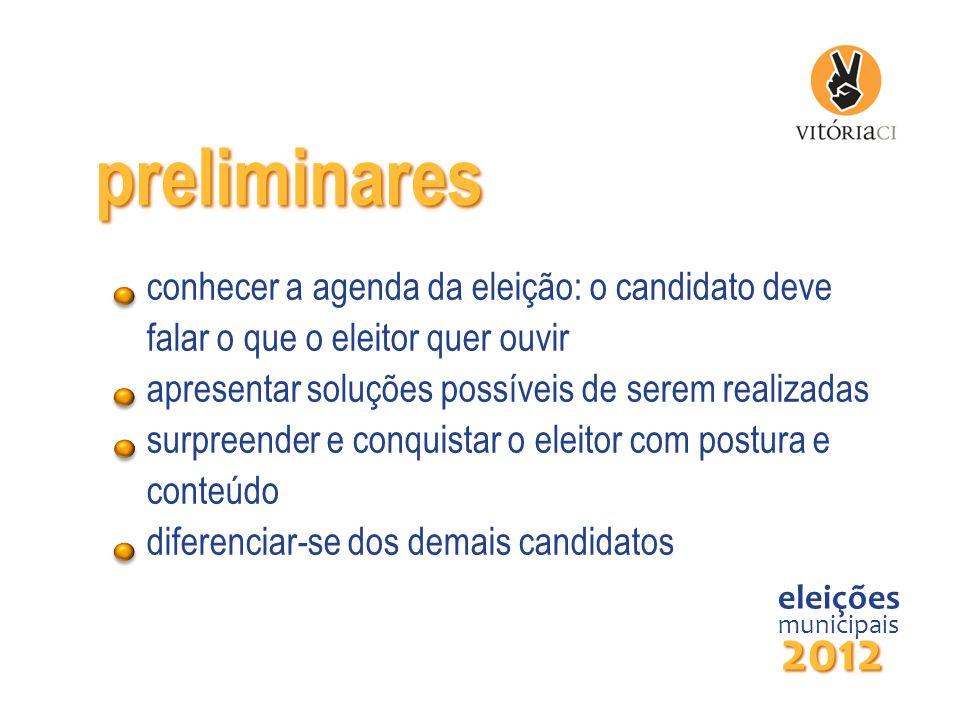 preliminares conhecer a agenda da eleição: o candidato deve falar o que o eleitor quer ouvir apresentar soluções possíveis de serem realizadas surpree