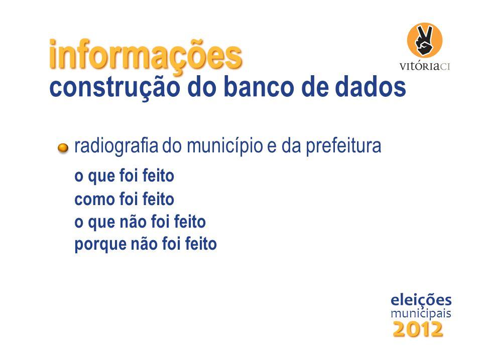 informações radiografia do município e da prefeitura o que foi feito como foi feito o que não foi feito porque não foi feito eleições municipais 2012
