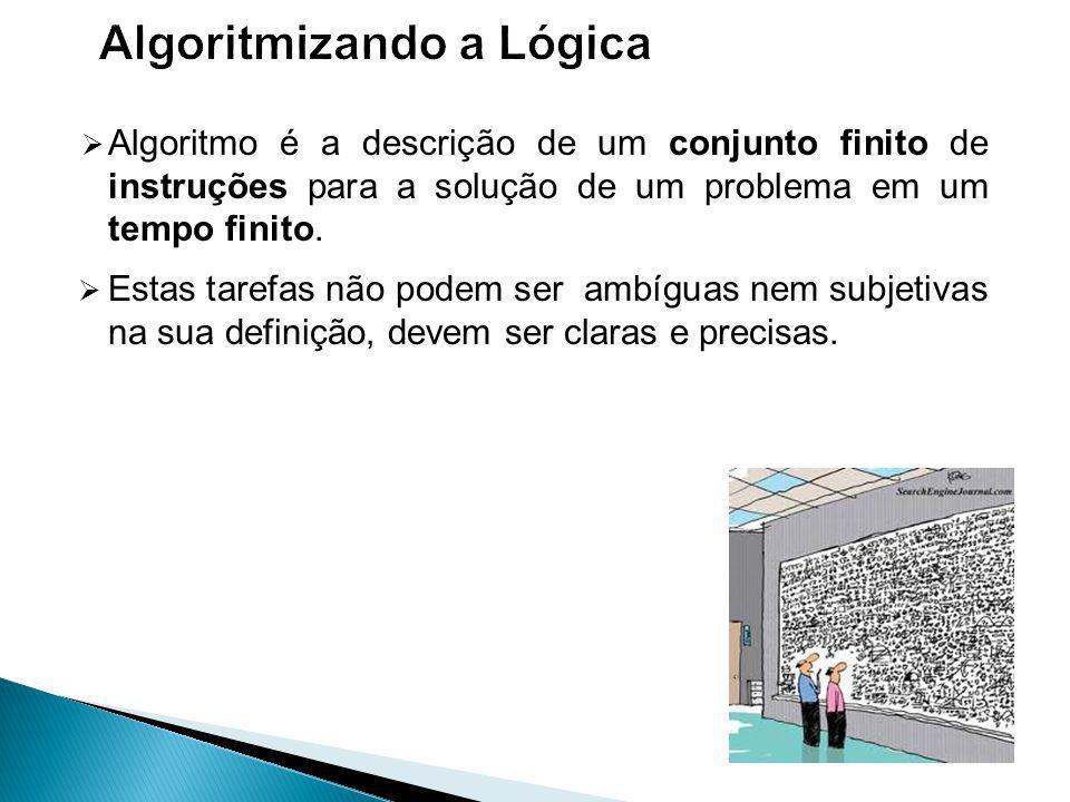 Algoritmo é a descrição de um conjunto finito de instruções para a solução de um problema em um tempo finito.