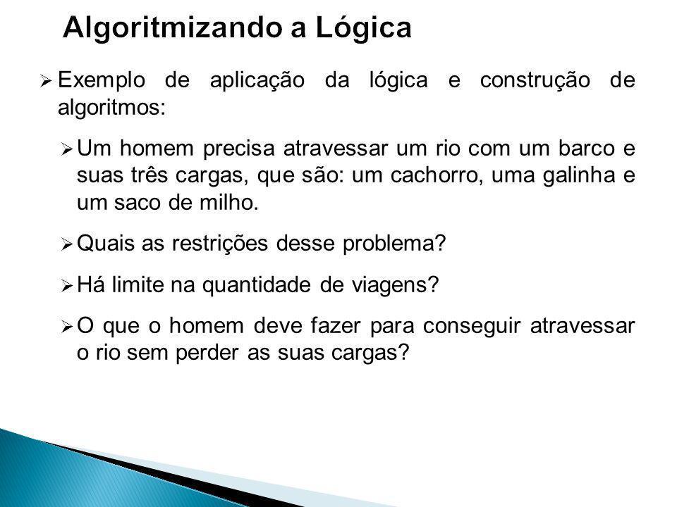 Exemplo de aplicação da lógica e construção de algoritmos: Um homem precisa atravessar um rio com um barco e suas três cargas, que são: um cachorro, uma galinha e um saco de milho.