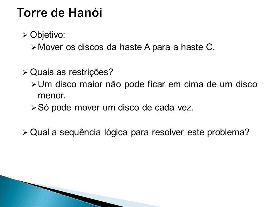 Objetivo: Mover os discos da haste A para a haste C.