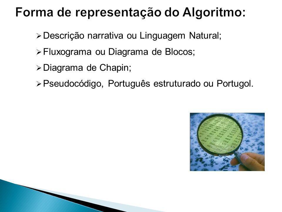 Descrição narrativa ou Linguagem Natural; Fluxograma ou Diagrama de Blocos; Diagrama de Chapin; Pseudocódigo, Português estruturado ou Portugol.