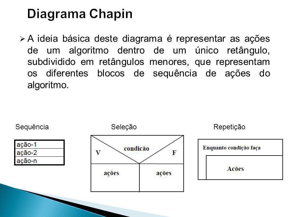 A ideia básica deste diagrama é representar as ações de um algoritmo dentro de um único retângulo, subdividido em retângulos menores, que representam os diferentes blocos de sequência de ações do algoritmo.