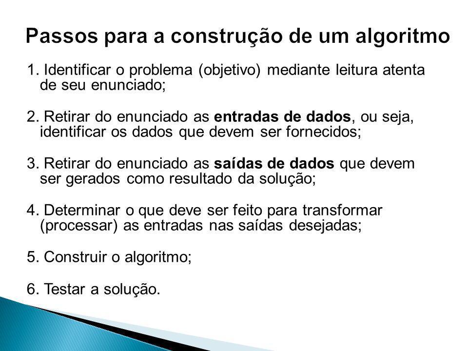 1.Identificar o problema (objetivo) mediante leitura atenta de seu enunciado; 2.