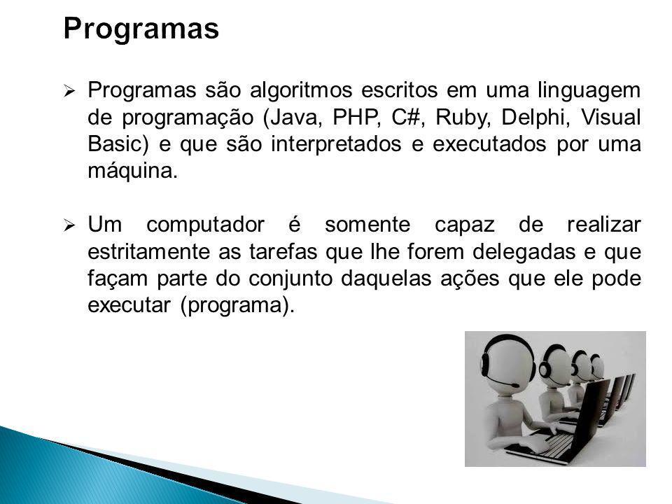Programas são algoritmos escritos em uma linguagem de programação (Java, PHP, C#, Ruby, Delphi, Visual Basic) e que são interpretados e executados por uma máquina.