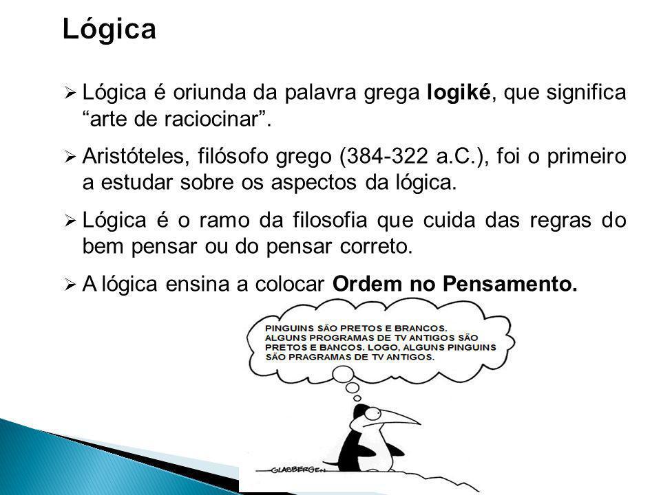 Lógica é oriunda da palavra grega logiké, que significa arte de raciocinar.