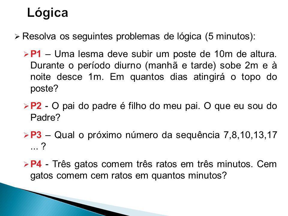 Resolva os seguintes problemas de lógica (5 minutos): P1 – Uma lesma deve subir um poste de 10m de altura.