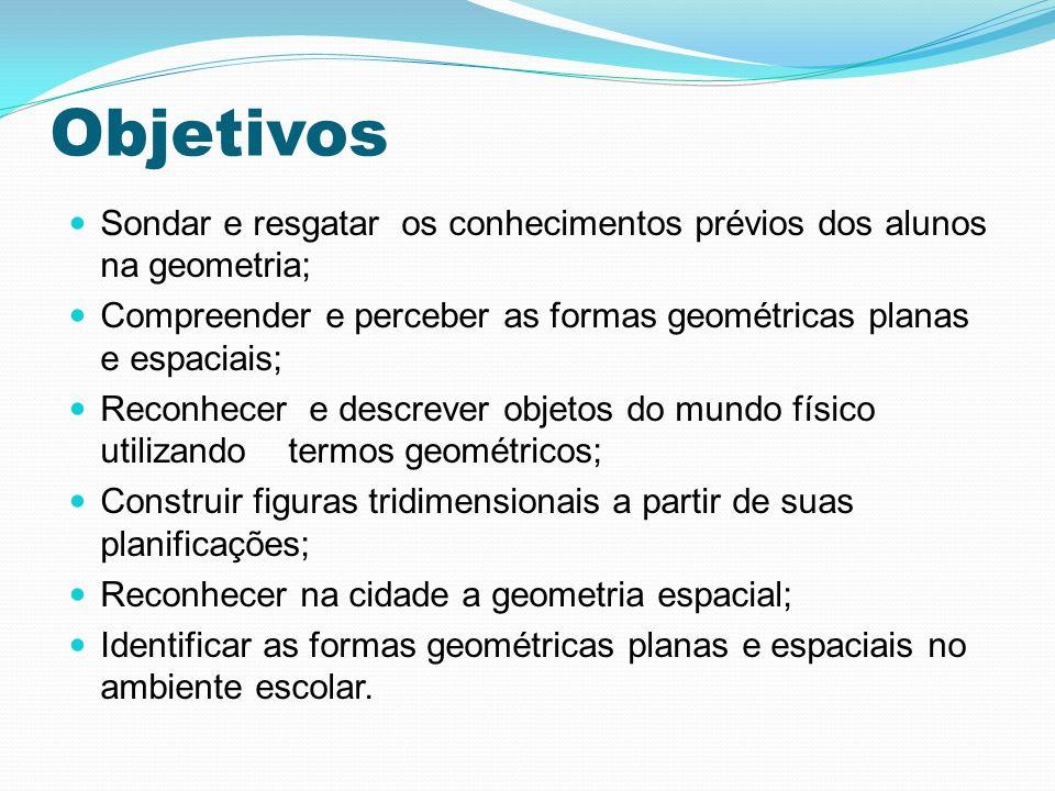 Objetivos Sondar e resgatar os conhecimentos prévios dos alunos na geometria; Compreender e perceber as formas geométricas planas e espaciais; Reconhe