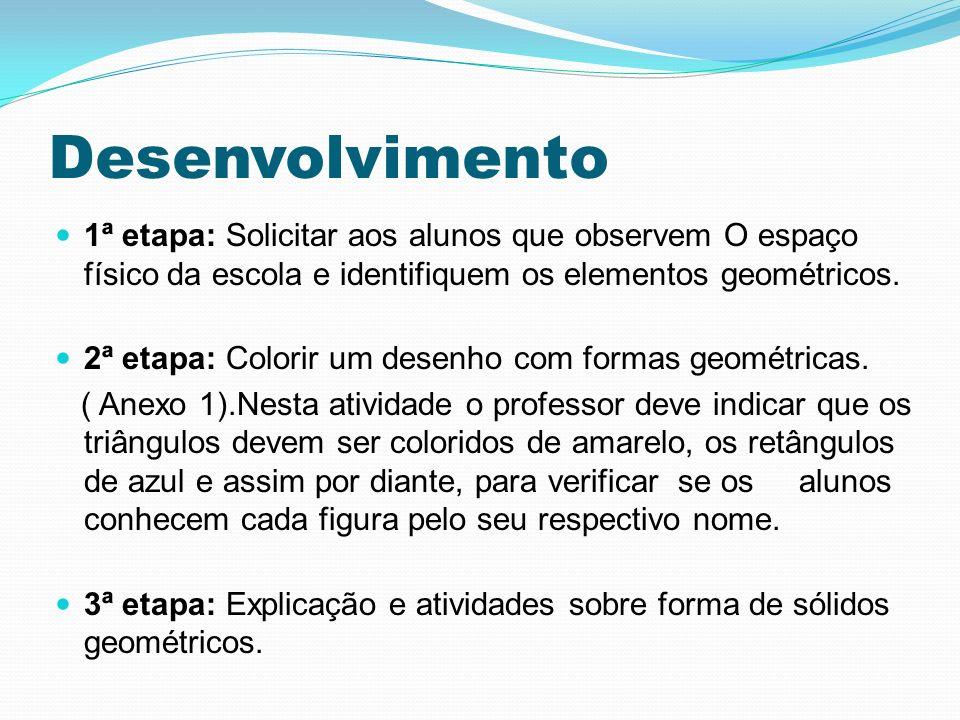 Desenvolvimento 1ª etapa: Solicitar aos alunos que observem O espaço físico da escola e identifiquem os elementos geométricos. 2ª etapa: Colorir um de