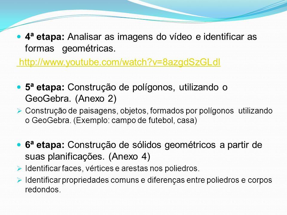 4ª etapa: Analisar as imagens do vídeo e identificar as formas geométricas. http://www.youtube.com/watch?v=8azgdSzGLdI 5ª etapa: Construção de polígon