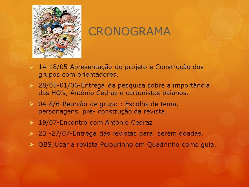 CRONOGRAMA 14-18/05-Apresentação do projeto e Construção dos grupos com orientadores.