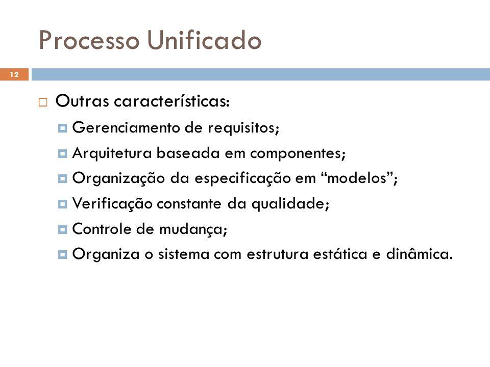 Processo Unificado Outras características: Gerenciamento de requisitos; Arquitetura baseada em componentes; Organização da especificação em modelos; V