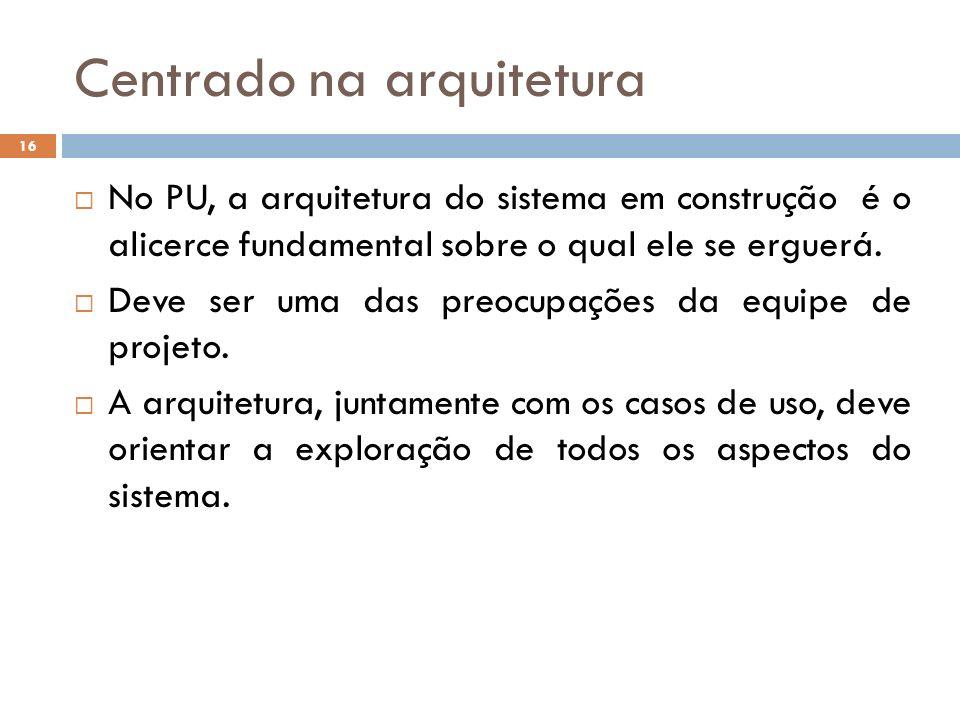 Centrado na arquitetura No PU, a arquitetura do sistema em construção é o alicerce fundamental sobre o qual ele se erguerá. Deve ser uma das preocupaç