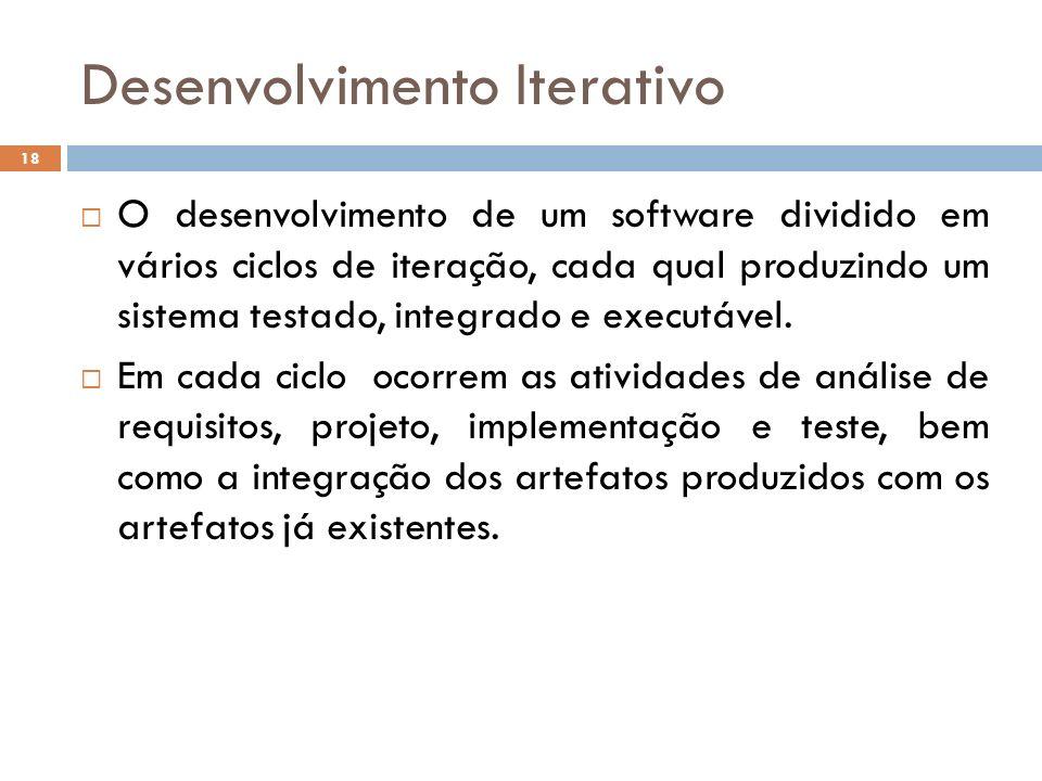 Desenvolvimento Iterativo O desenvolvimento de um software dividido em vários ciclos de iteração, cada qual produzindo um sistema testado, integrado e